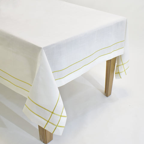 Classic White & Gold Dining Table Topper | 72 inches