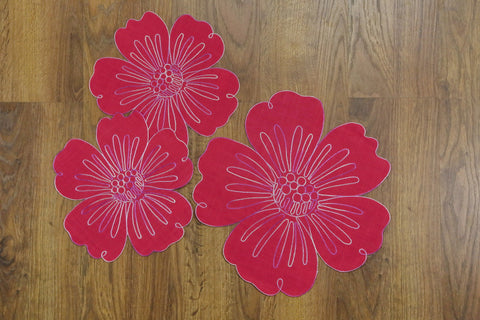 Flower Round 3 Piece Tablecloths Set