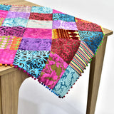 Multicolor Velvet Patchwork Square Table Topper | 40 inches