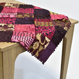 Burgundy Velvet Patchwork Square Table Topper | 40 inches