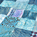 Turquoise Velvet Patchwork Square Table Topper | 40 inches