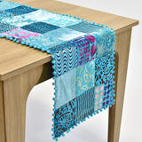 Turquoise Velvet Patchwork Table Runner | 16x64 inches