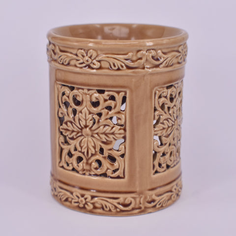 Ceramic Oil Burner | Floral Cylinder