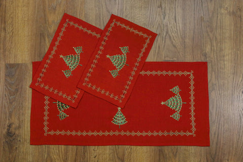 Christmas Tree 3 Piece Tablecloths Set
