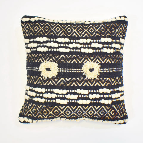 Black Metallic Macrame Cushion Cover | 45 x 45 cm