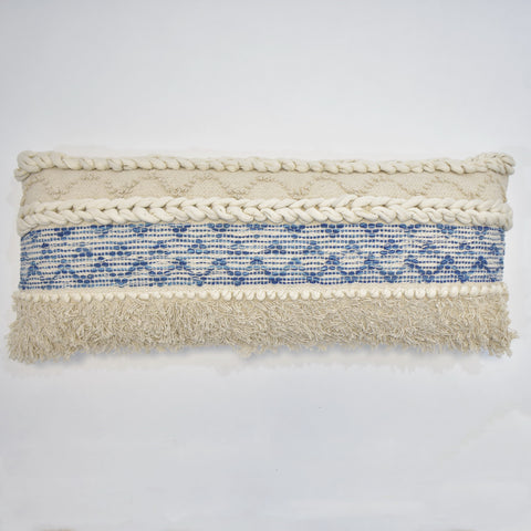 Denim Macrame Cushion Cover | 35 x 90 cm