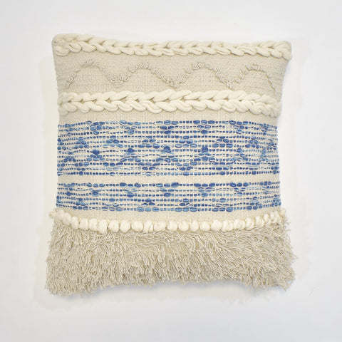 Denim Macrame Cushion Cover | 45 x 45 cm