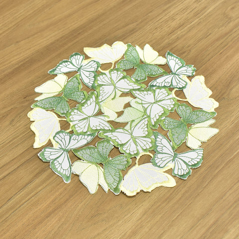 Green & Yellow Butterfly Embroidered Cutwork Doily 12 Inches