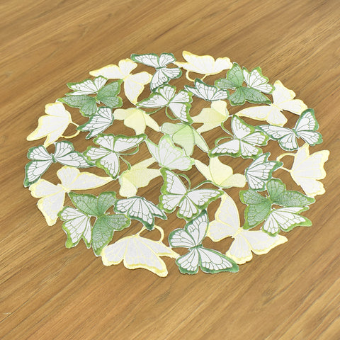 Green & Yellow Butterfly Embroidered Cutwork Doily 18 Inches