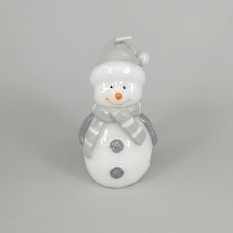 Decorative Grey Christmas Snowman Candle | Large