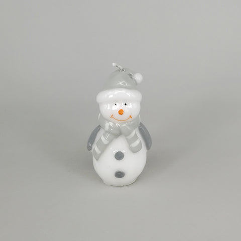 Decorative Grey Christmas Snowman Candle | Small