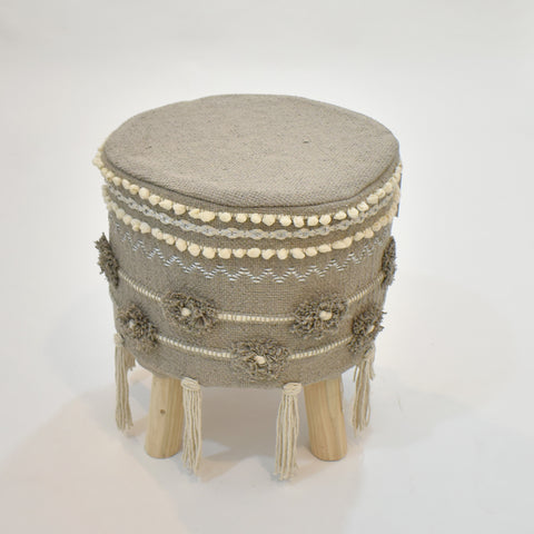 Grey Macrame Stool