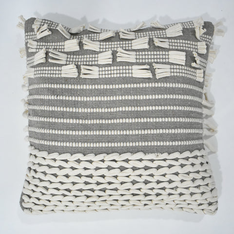 Grey and Beige Macrame Cushion Cover | 45 x 45 cm