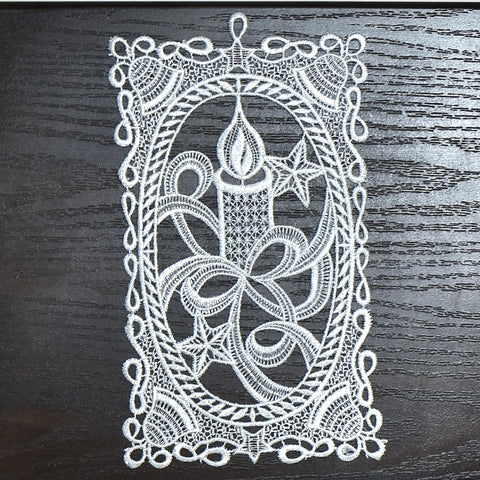 White Christmas Candle Doily | 5x10 inches
