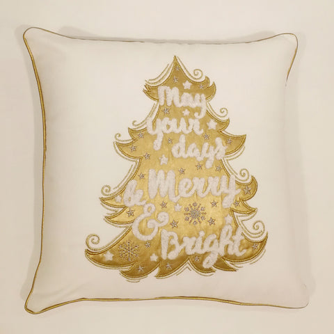 Gold Christmas Tree Cushion Cover | 45 x 45 cm