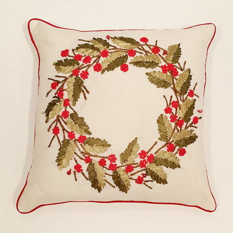 Beige Christmas Ribbon Wreath Cushion Cover | 44 x 44 cm