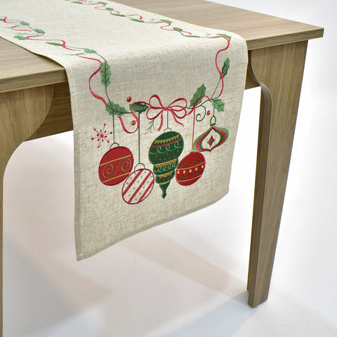 Linen Christmas Ornaments Table Runner | 16x45 inches