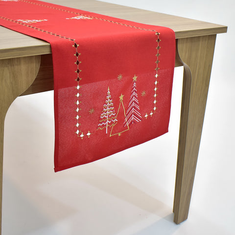 Golden Christmas Trees Table Runner | 16x72 inches