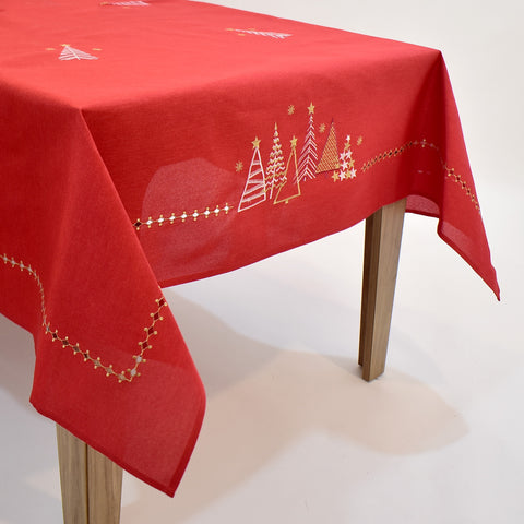 Golden Christmas Trees Dining Table Topper | 72x144 inches