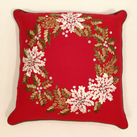 Red Christmas Ribbon Wreath Cushion Cover | 40 x 40 cm