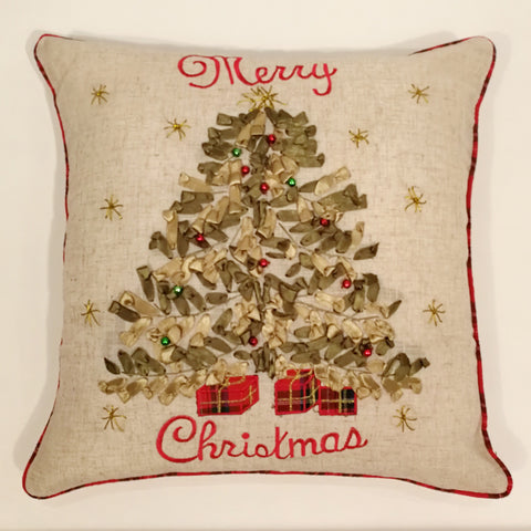 Ribbon Christmas Tree Cushion Cover | 45 x 45 cm
