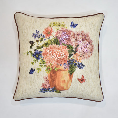 Floral Printed Ribbon Cushion Cover | 45 x 45 cm