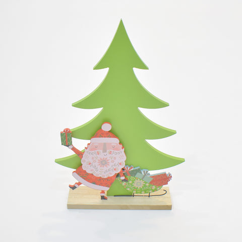 Decorate Wooden Santa With Christmas Tree