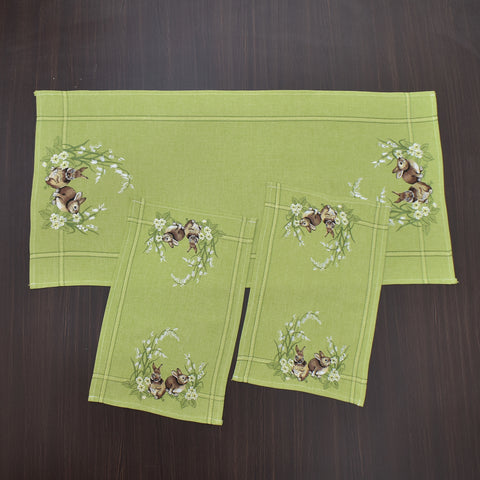 Easter Rabbit Green 3 Piece Tablecloths Set