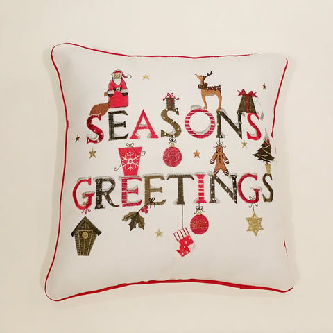 Season's Greetings Embroidered Christmas Cushion Cover | 40 x 40 cm