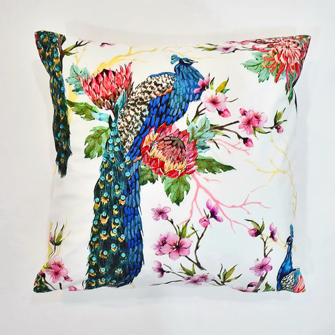 Peacock Ribbon-Sequin Printed Cushion Cover | 45 x 45 cm