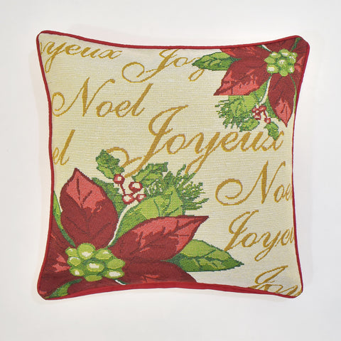 Poinsettia Tapestry Christmas Cushion Cover | 45 x 45 cm