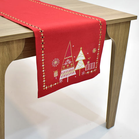 White-Gold Christmas Trees Table Runner | 16x72 inches
