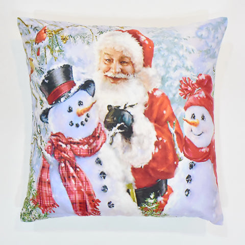 Santa with Snowmen Christmas Cushion Cover | 41 x 41 cm