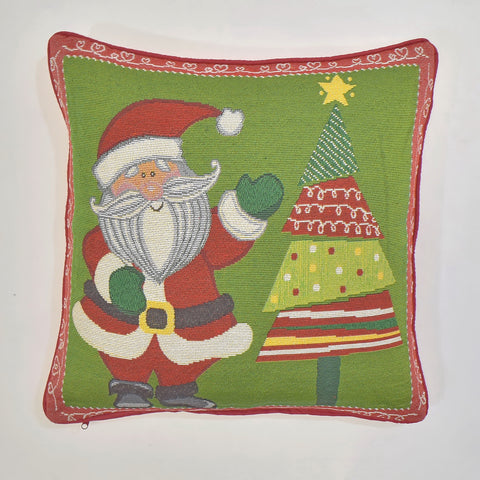 Santa and Christmas Tree Tapestry Cushion Cover | 45 x 45 cm