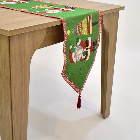 Santa and Christmas Tree Tapestry Table Runner | 33 x 137 cm