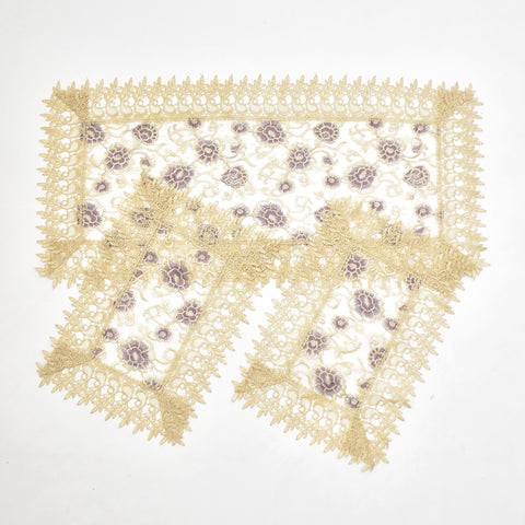 Purple Holly 3 Piece Tablecloths Set
