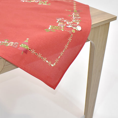 Red Merry Christmas Square Table Topper | 36 inches