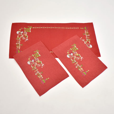 Red Merry Christmas 3 Piece Tablecloths Set