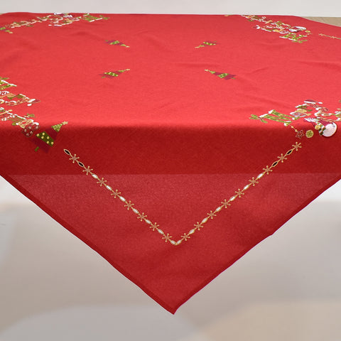 Red Merry Christmas Square Table Topper | 54 inches