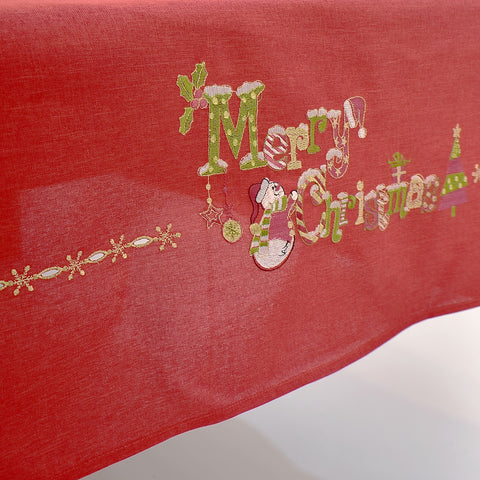 Red Merry Christmas  Dining Table Topper | 72x144 inches