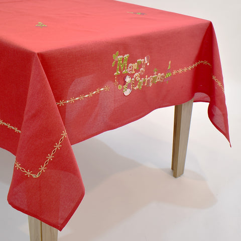 Red Merry Christmas  Dining Table Topper | 72x126 inches