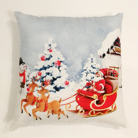 Santa on Sleigh Christmas Cushion Cover | 41 x 41 cm