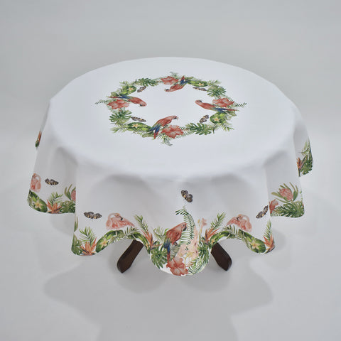 Spring Peacock And Flamingo Table Topper | 180cm Round
