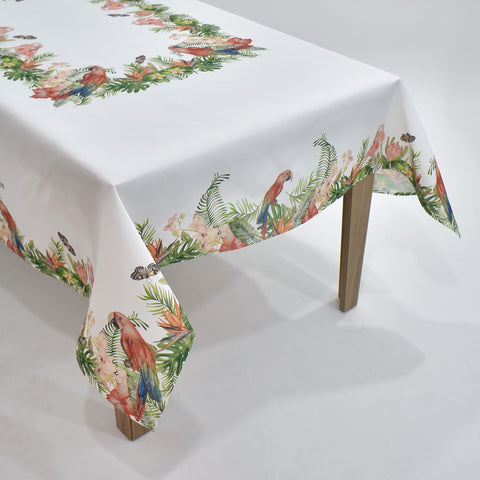 Spring Peacock And Flamingo Table Topper | 54x72 inches