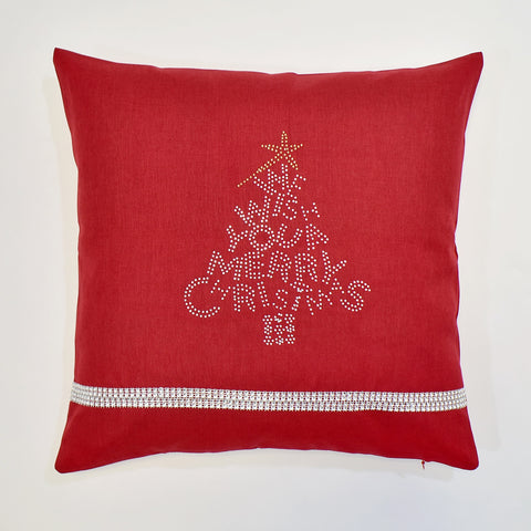 Red Merry Christmas Cushion Cover | 40 x 40 cm