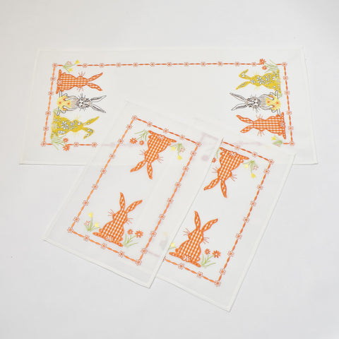 Orange Easter Bunny 3 Piece Tablecloths Set