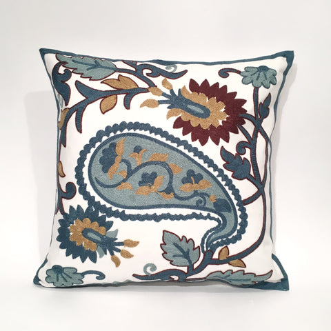 Paisley Embroidered Cushion Cover | 45 x 45 cm