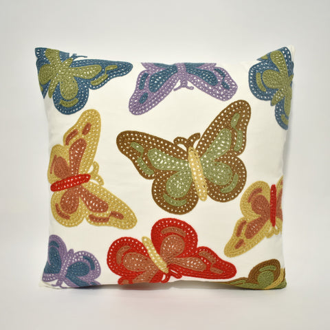 Butterfly Embroidered Cushion Cover | 45 x 45 cm