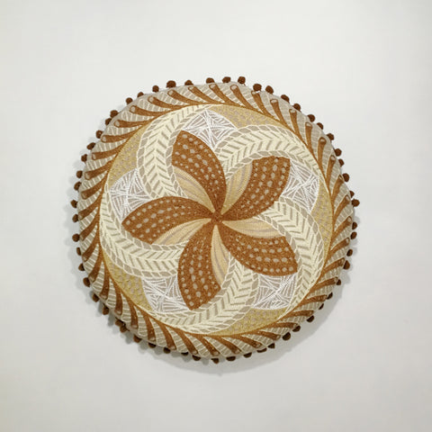 Brown and Beige Round Indian Cushion | 40 x 40 cm