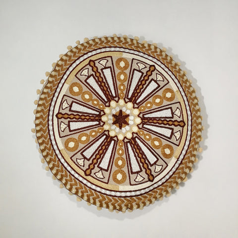 Brown Fan Round Indian Cushion | 40 x 40 cm